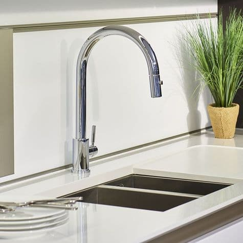4044 Perrin & Rowe Juliet Sink Mixer with 'C' Spout and Pull Down Rinse